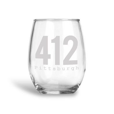 412 Pittsburgh, Stemless Wine Glass