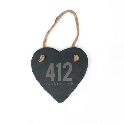 412 Pittsburgh Slate Heart Ornament, Wholesale