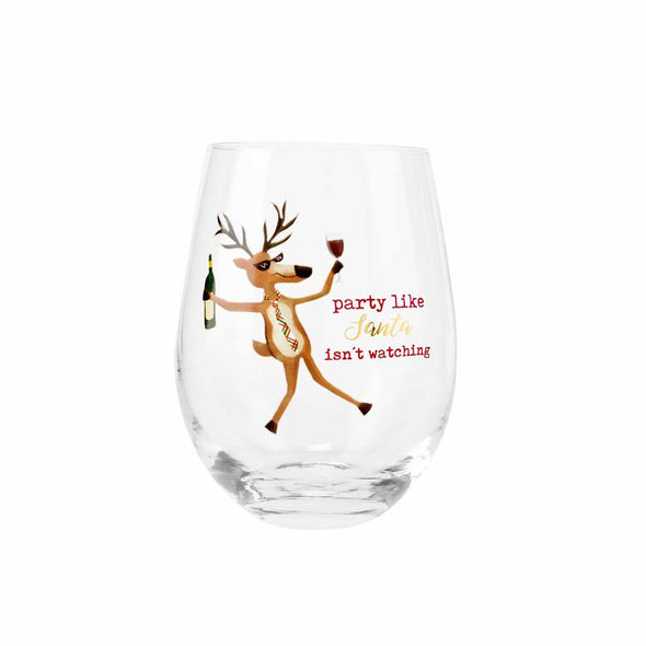 Reindeer, Funny Stemless Wine Glass