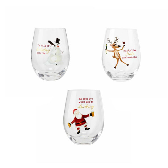 Snowman, Funny Stemless Wine Glass