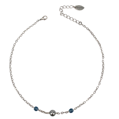 Grey and Denim, Pearl and Crystal Chain Necklace