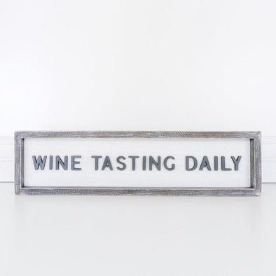 Wine Tasting Daily, Wood Frame Sign