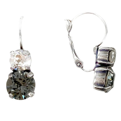 Black Mix, 6/8mm Crystal Drop Earrings