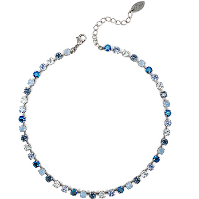 Blue Mix, 6mm Full Crystal Necklace