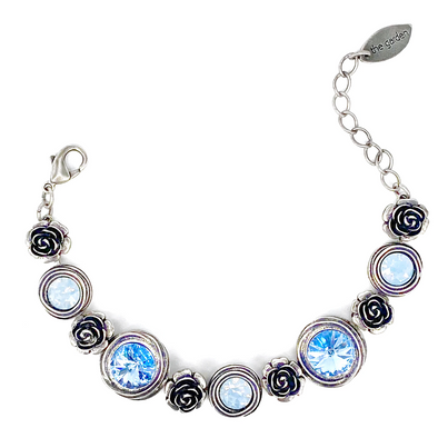 Blue Mix, Crystal Rose Bracelet