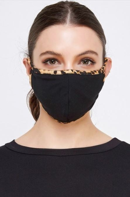 Black with Cheetah Border, Face Mask With Filter Pocket