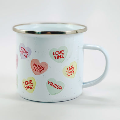 Pastel Pittsburgh Conversation Hearts, Camp Mug