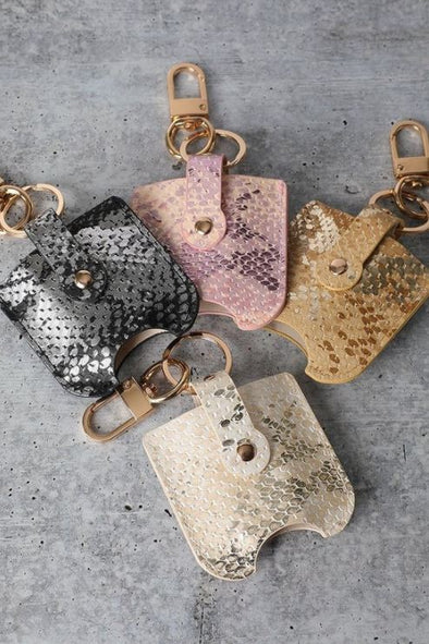 Snake Print, Refillable Hand Sanitizer Keychain