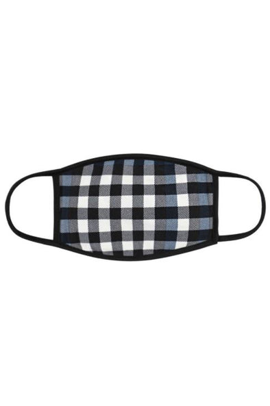 Navy Plaid, Face Mask with Filter Pocket