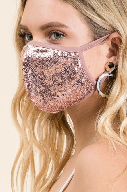 Rose Gold Sequin, Face Mask