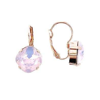 Rose Water Opal, 12mm Crystal Drop Earrings