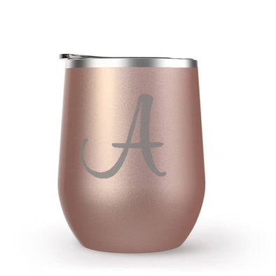 Rose Gold Wine Tumbler with Custom Initial