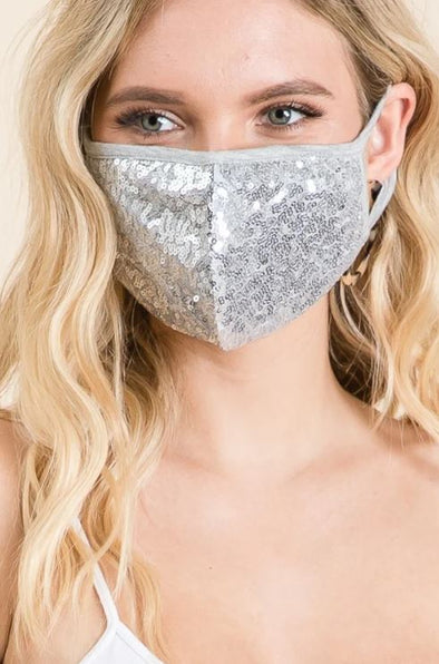 Silver Sequin, Face Mask
