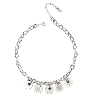 Silver Night Crystal Coin Necklace