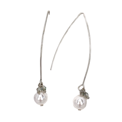 White Pearl and Paradise Shine, Crystal Bead and Pearl V Wire Dangle Earrings