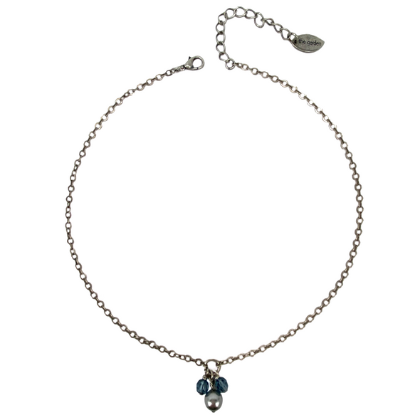 Grey and Denim, Pearl and Crystal Drop Necklace
