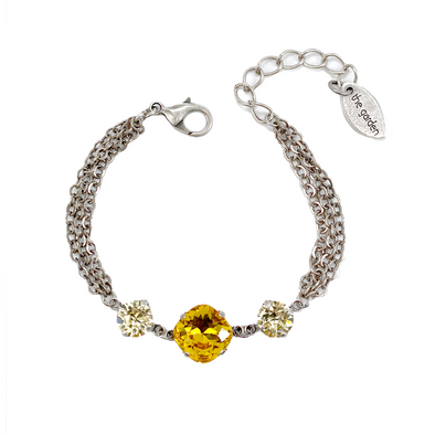 Sunflower, 12/8mm Crystal Chain Bracelet, Wholesale