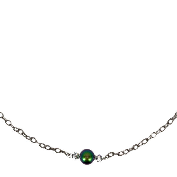 Green and AB, Pearl and Crystal Bar Necklace