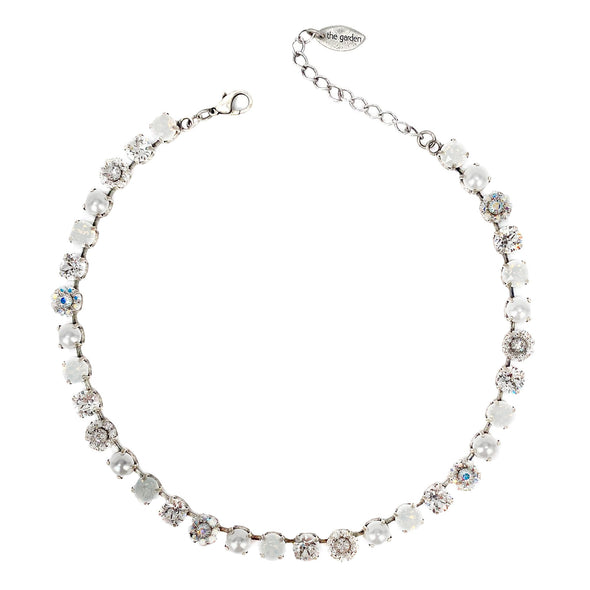 White Mix, 8mm Full Crystal Necklace, Wholesale