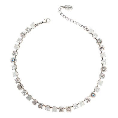 White Mix, 8mm Full Crystal Necklace