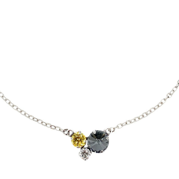 Black, Gold & Clear, 12/8/6 Crystal Necklace