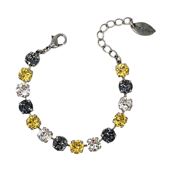Black, Gold & Clear, 8mm Full Crystal Bracelet