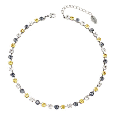 Black, Gold & Clear, 6mm Full Crystal Necklace