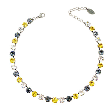 Black, Gold & Clear, 8mm Full Crystal Necklace