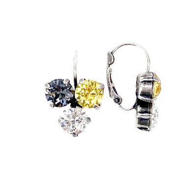 Black, Gold & Clear, 8mm Tri Drop Crystal Earrings, Wholesale