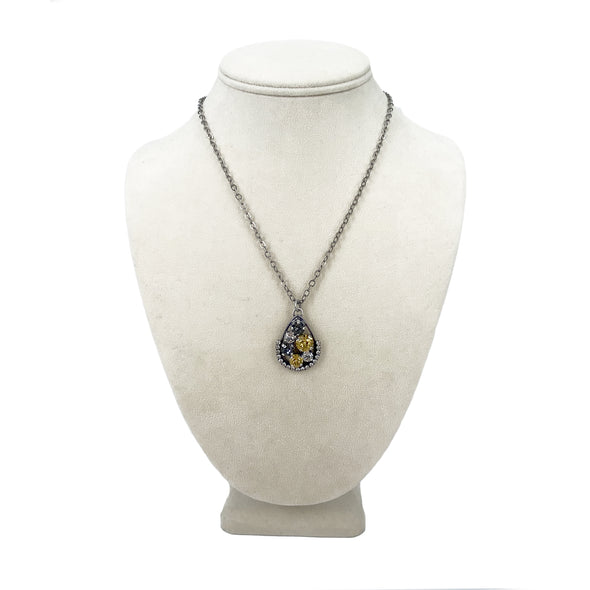 Black, Gold & Clear Mix, Long Pendant Crystal Necklace