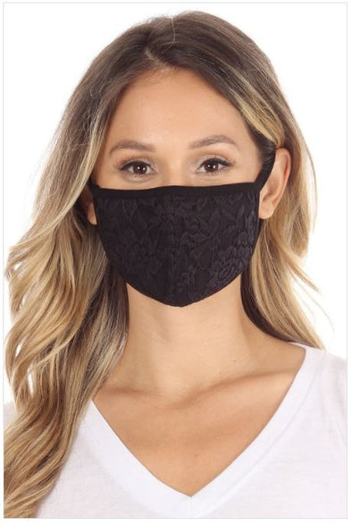 Black Crochet Lace, Face Mask