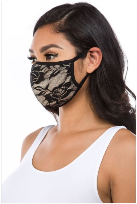 Black Lace Over Taupe, Face Mask