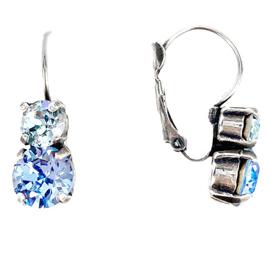 Blue Mix, 6/8mm Crystal Drop Earrings