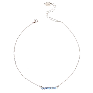 Light Sapphire, Crystal Bar Necklace