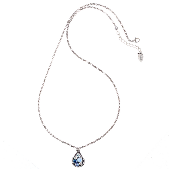 Blue Mix, Long Pendant Crystal Necklace