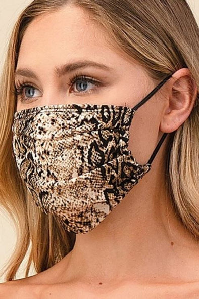 Brown Snake Skin Print, Pleated Face Mask With Filter Pocket