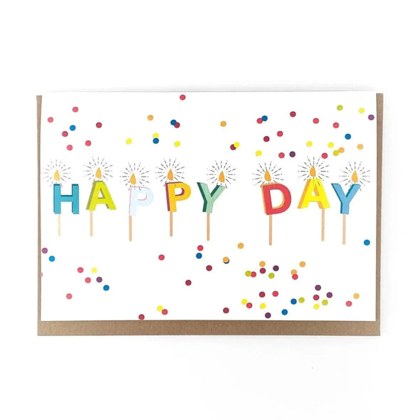 """Happy Day"" Candles, Birthday Card"