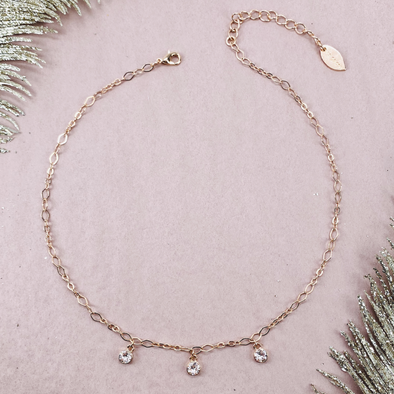 Silk, 4mm Dangle Necklace in Rose Gold