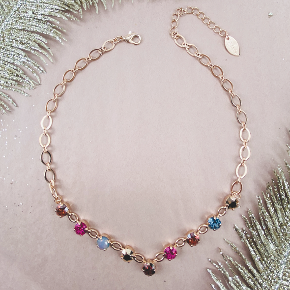 Spiced Chai, 8mm Crystal V Necklace