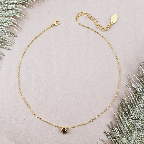 Padparadscha Myst, Slide Necklace in Matte Gold