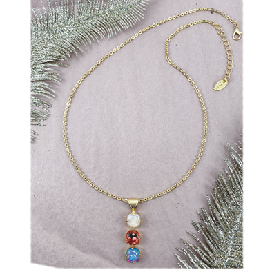 Cashmere, 12mm Tri-Drop Crystal Necklace