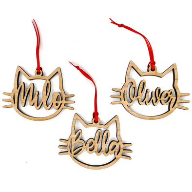 Custom Name Cat Face, Wood Ornament