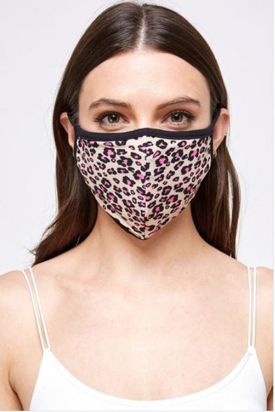 Multi Colored Leopard, Face Mask With Filter Pocket