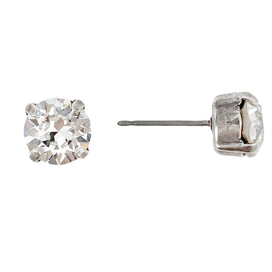 Clear, 8mm Crystal Stud Earrings, Wholesale