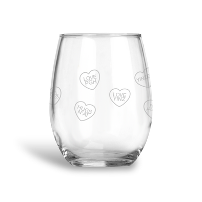 Pittsburgh Conversation Hearts, Stemless Wine Glass Wholesale