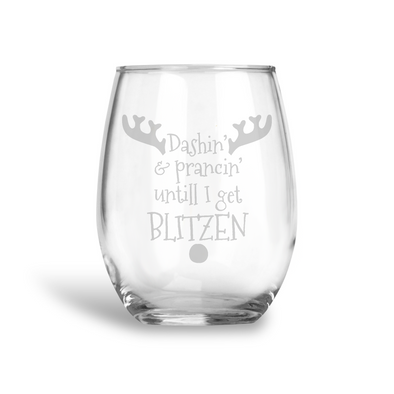 Get Blitzen, Stemless Holiday Wine Glass, Wholesale