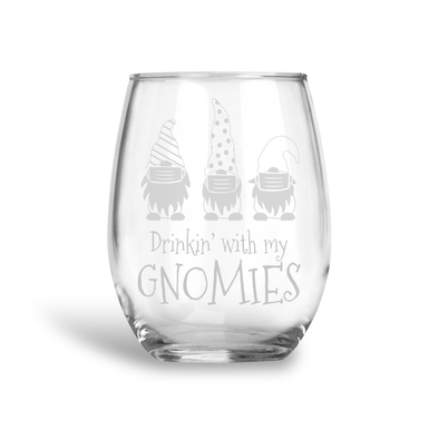 Drinking with my Gnomies, Stemless Holiday Wine Glass, Wholesale
