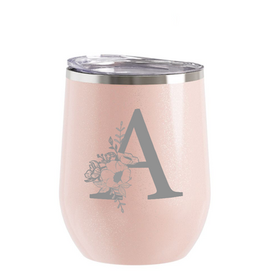 Glitter Blush Wine Tumbler with Custom Floral Initial, Wholesale