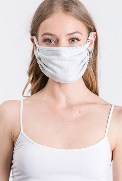 Grey Floral, Pleated Face Mask with Filter Pocket