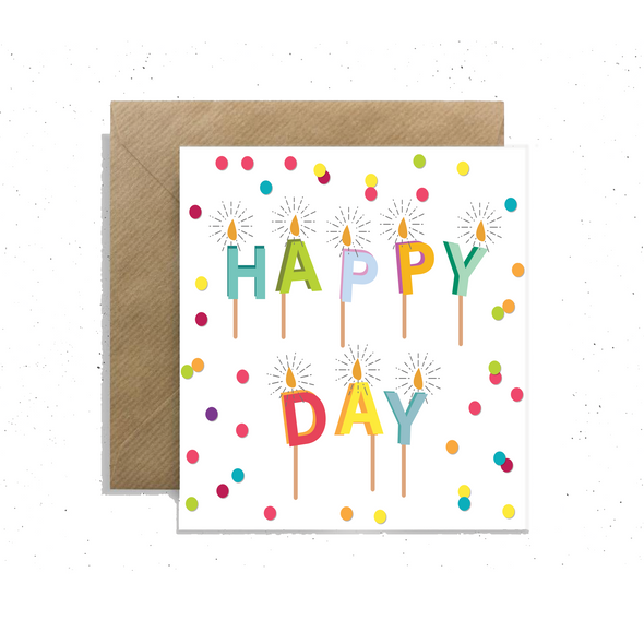 """Happy Day"" Candles, Small Enclosure Card"